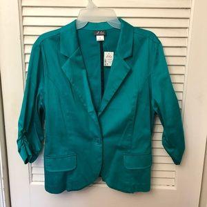 NWT Teal Cotton Blazer Size: 14-16